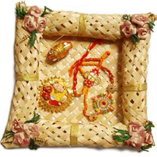 Cane Rakhi Puja Thali Hamper 4