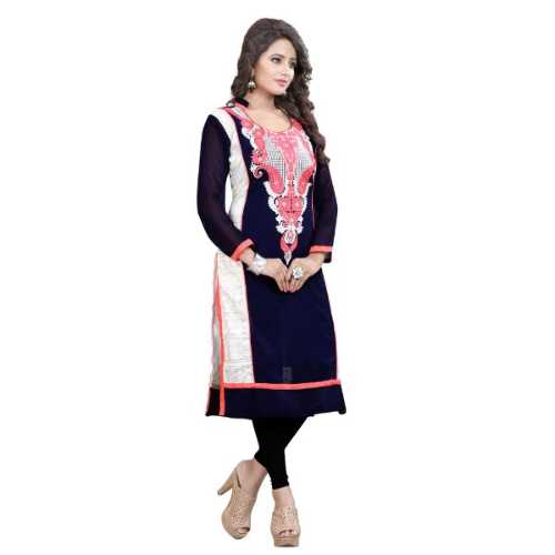 Navy Blue Embroidered Georgette A-line Kurti