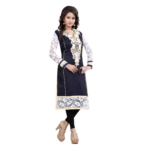 Blue Embroidered Chanderi Cotton A-line Kurti