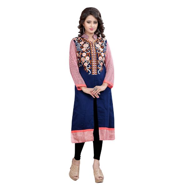 Blue Embroidered Chanderi Cotton A-line Kurti - 1