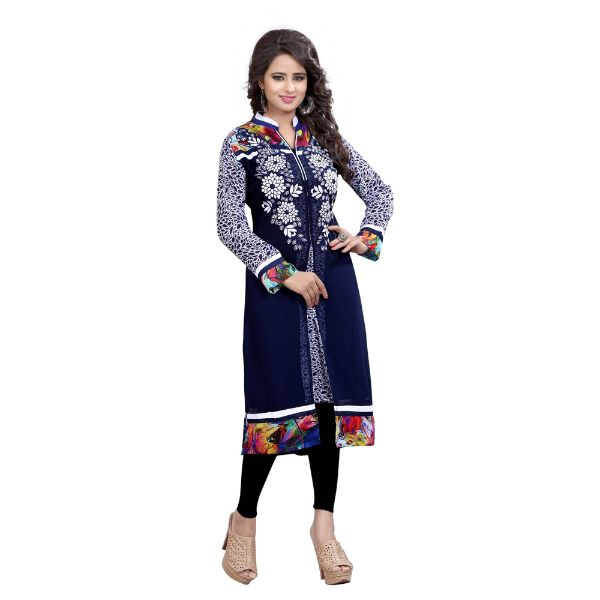 Blue Georgette Embroidered Kurti - 2