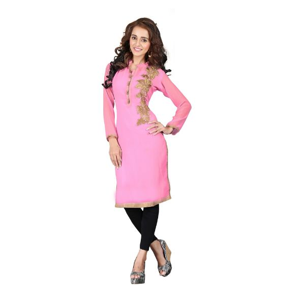 Pink Embroidered Patch Work Georgette Kurti