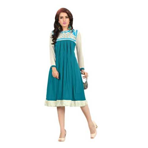 Fabulous Aqua Blue and White Designer Kurti