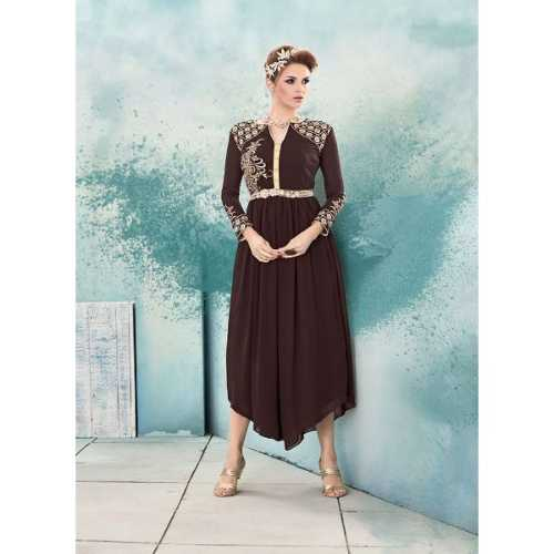 Incredible A-line Kurti in Brown Color