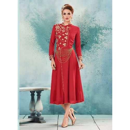 Incredible Achkan Kurti Style in Georgette Red Kurti