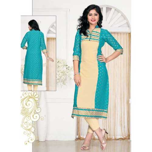 Cream and Blue Incredible Straight Kurti Style