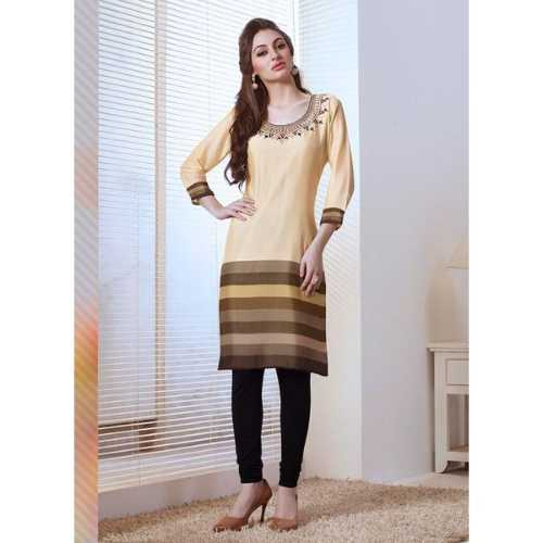 Beige Color with Embroidery Work Incredible Readymade Kurti