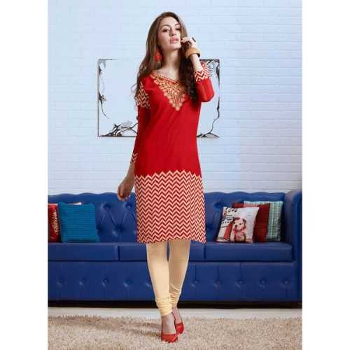 Red Color with Embroidery Printed Work Incredible Kurti