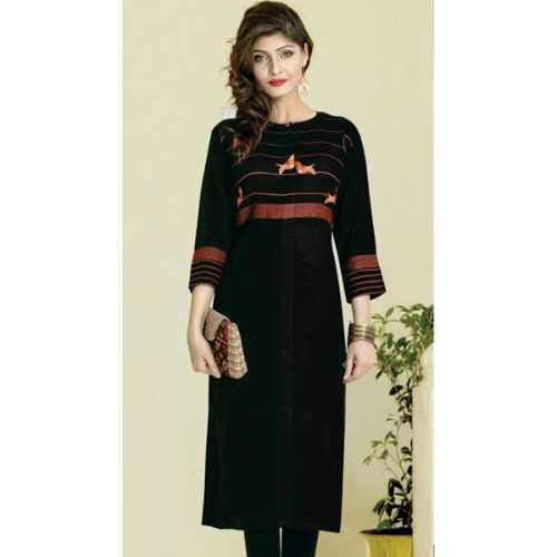 Shonaya Black Color Rayon Cambric Printed Stitched Kurti