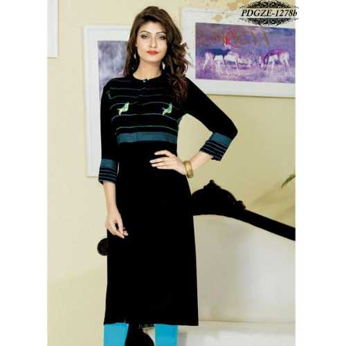 Black Color Rayon Printed Stitched Kurti