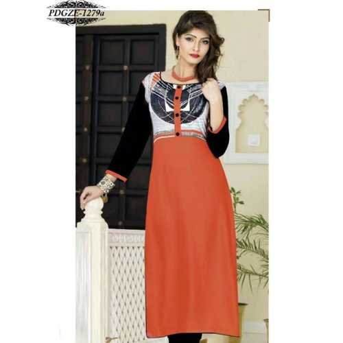 Orange & Black Color Rayon Printed Stitched Kurti
