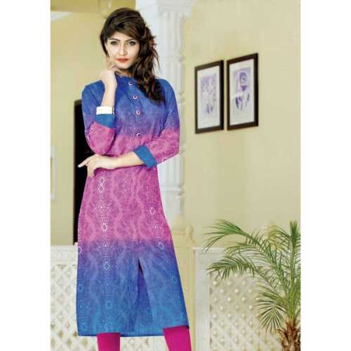 Shonaya Blue & Magenta Color Cotton Printed Stitched Kurti