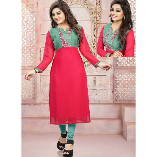 Incredible Straight Kurti Style with Embroidery Work