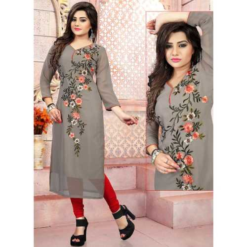 Grey Color with Embroidery Work Incredible Readymade Kurti