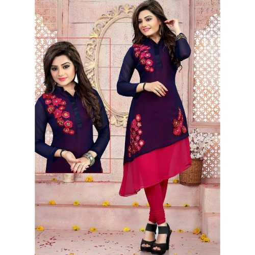 Blue Color with Embroidery Work Incredible Readymade Kurti