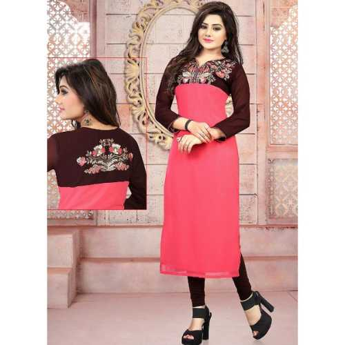Pink Color with Embroidery Work Incredible Readymade Kurti