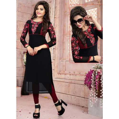 Black Color with Embroidery Work Incredible Readymade Kurti