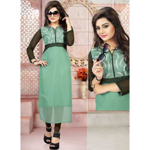 Sea Green Color with Embroidery Work Incredible Readymade Kurti