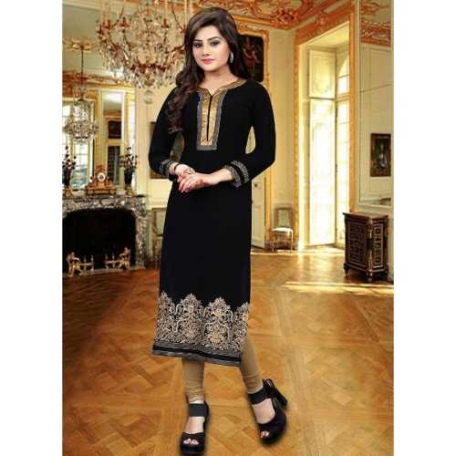 Black Color Georgette Incredible Readymade Kurti