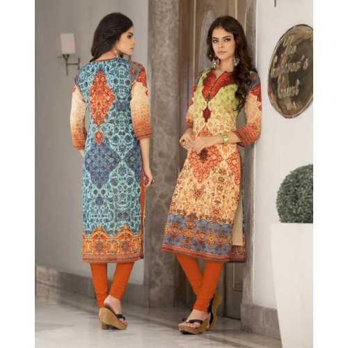 Charming Orange and Cream Designer Kurti