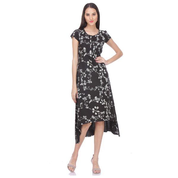 Urban naari Black Colored Rayon Printed Partywear Stitched Kurti
