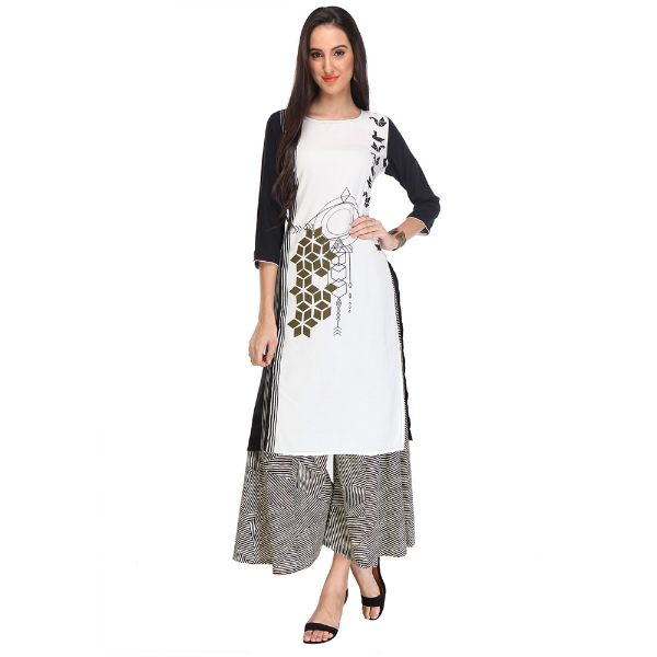 Black & White Colored Rayon Printed Partywear Stitched Kurti