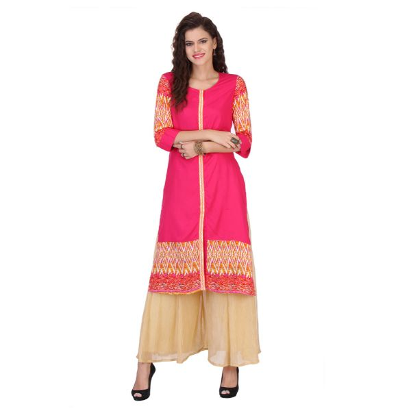 Magenta and Cream Colored Rayon Printed Partywear Stitched Kurti