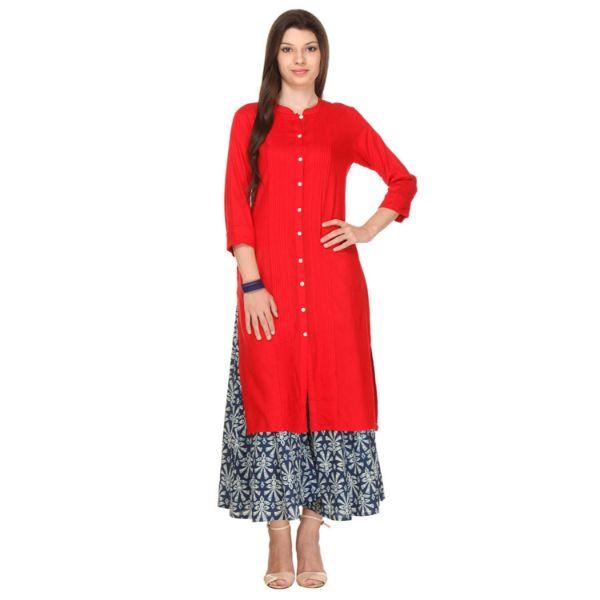 Urban naari Red Colored Rayon Printed Partywear Stitched Kurti