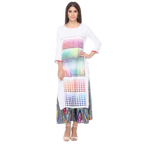 Urban naari White Colored Rayon Printed Partywear Stitched Kurti