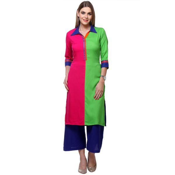 Green & Pink Colored Rayon Printed Partywear Stitched Kurti