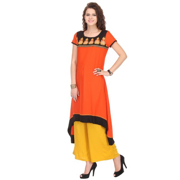 Incredible Orange Designer Kurti