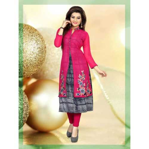 Incredible PinkAnd Grey Designer Kurti