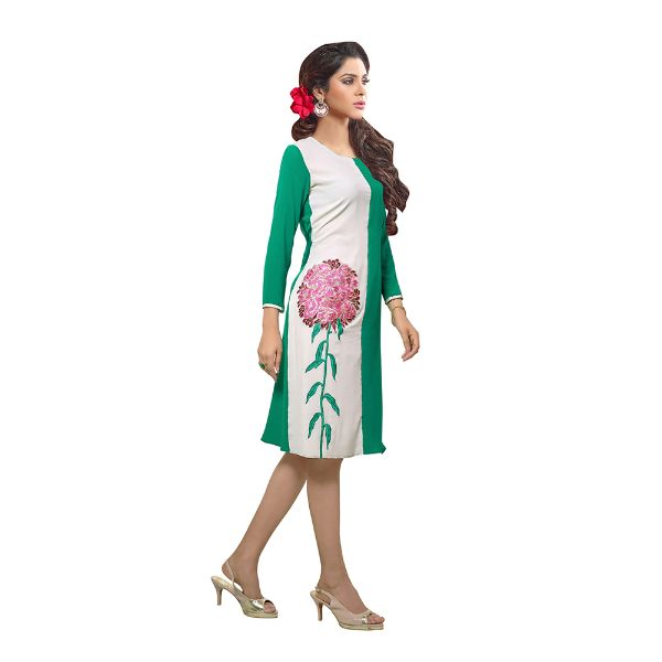 Impressive Off White and Green Designer Kurti