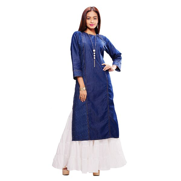Viva N Diva Blue Colored Denim Kurtis.