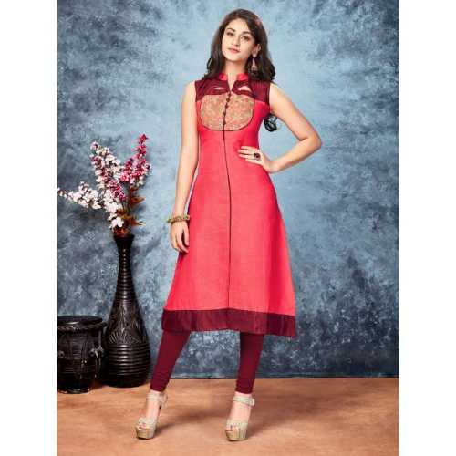 Pink Color with Embroidery & Lace Work Incredible Kurti - 1