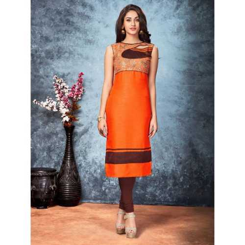 Orange Color with Embroidery & Lace Work Readymad Kurti - 2