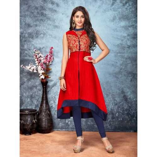 Silk Fabric with Lace & Embroidery Work Incredible Kurti