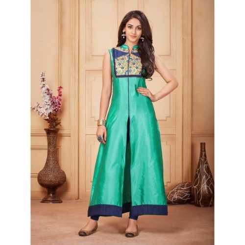 Incredible Achkan Kurti Style in Sea Green Color