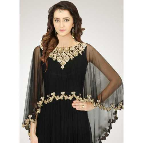 Crepe Silk Fabric Black Color Readymade Gown