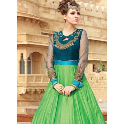 Silk Fabric Green Color Readymade Gown