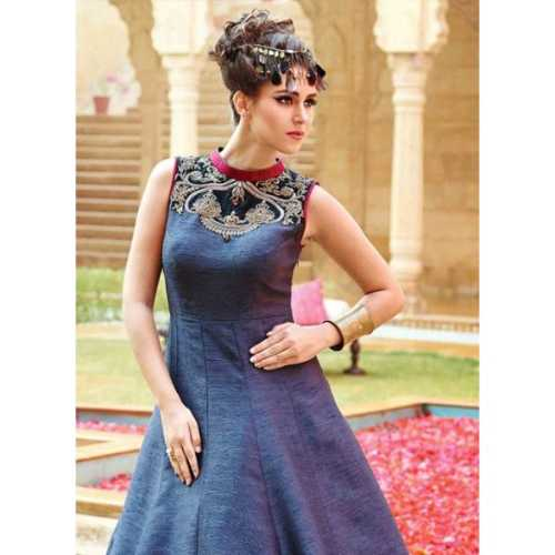 Silk Fabric Blue Color Readymade Gown