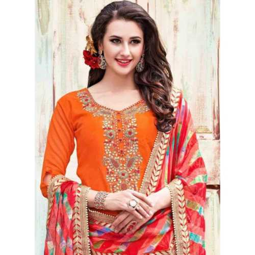 Orange with Beads Work Incredible Salwar Kameez
