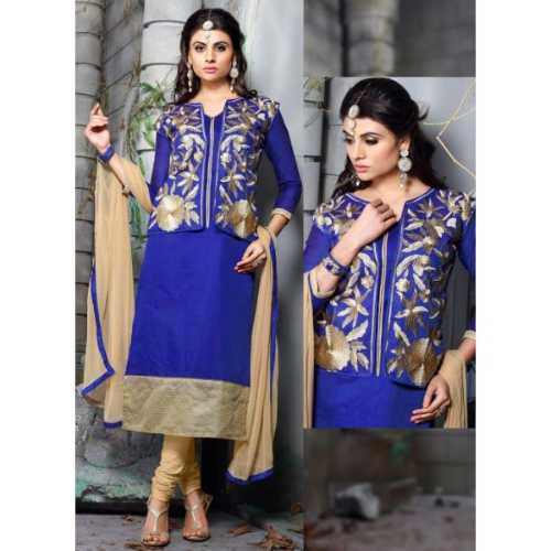 Blue Chanderi Silk Amazing luxury Salwar Kameez