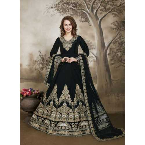Incredible luxury Salwar Kameez in Black Color & Silk Fabric
