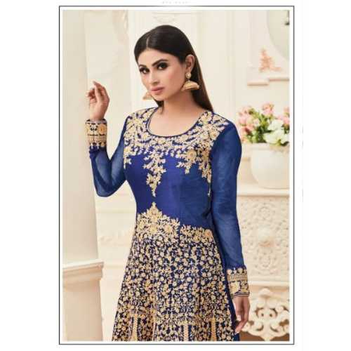 Banarasi Silk Blue Color Incredible Salwar Kameez Unstitched