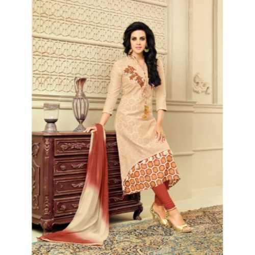 Beige Color Chanderi Silk Salwar Kameez in Straight Cut