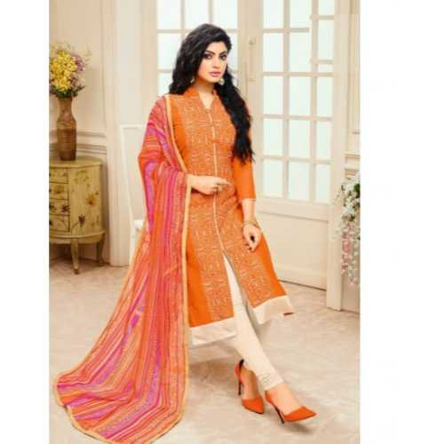 Orange Chanderi Silk Incredible party wear Indian Salwar Kameez