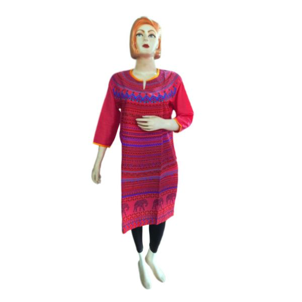 Round - Neck Cotton Kurti - 7