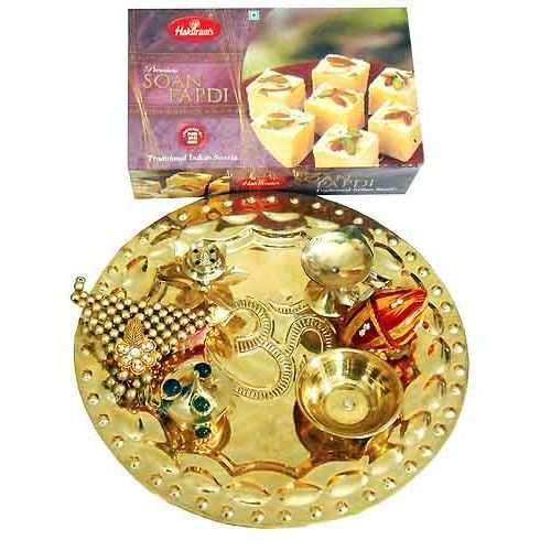 Brass Thali With Soanpapdi 250 gms -India To Canada Delivery