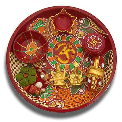 Ganesh Lakshmi OM Puja Thali 7- Singapore Delivery only